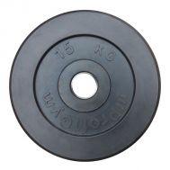 """Диск обрезиненный """"ProfiGym"""" d 51 мм чёрный 15,0 кг, фото 1"""