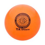 Мяч для художественной гимнастики RGB-102, 19 см, оранжевый, с блестками, фото 1