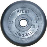 Диск обрезиненный d 31 мм черный 2,5 кг Atlet, фото 1