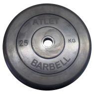Диск обрезиненный d 31 мм черный 25 кг Atlet, фото 1