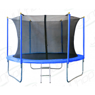 Батут JUNHOP 10'. Комплект с защитной сетью и лестницей. Синий, фото 1