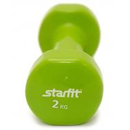 Гантель виниловая STARFIT DB-101 2 кг, зеленая (1 шт.) 1/10, фото 1