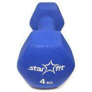 Гантель неопреновая STARFIT DB-201 4 кг, темно-синяя (1 шт.) 1/4, фото 1