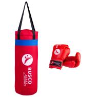 Набор для бокса Rusco, 4oz, кожзам, красный, фото 1