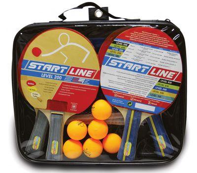 Набор START LINE: 4 Ракетки Level 200, 6 Мячей Club Select. Сетка с креплением, упаковано в сумку на молнии с ручкой., фото 1