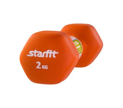 Гантель неопреновая STARFIT DB-201 2 кг, оранжевый (1 шт.) 1/10, фото 2