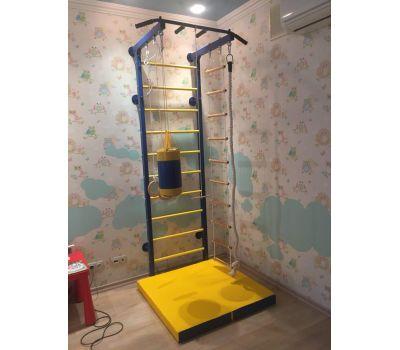 Набор боксерский детский № 2 (мешок боксерский 5 кг. + перчатки + трос) синий/желтый, фото 2