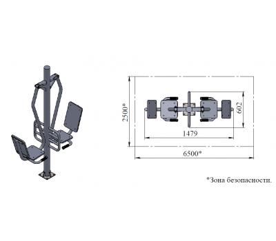 Тренажер для улицы Жим ногами сдвоенный  Air-Gym YT47, фото 4
