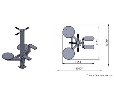 Тренажер уличный степпер и двойной твистер  Air-Gym YT49, фото 3