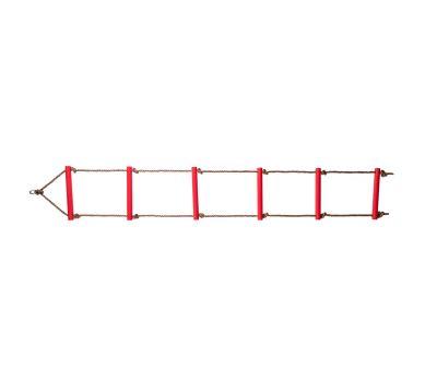 Лестница веревочная 6 ступеней красная, фото 1