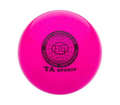 Мяч для художественной гимнастики RGB-102, 19 см, розовый, с блестками, фото 1