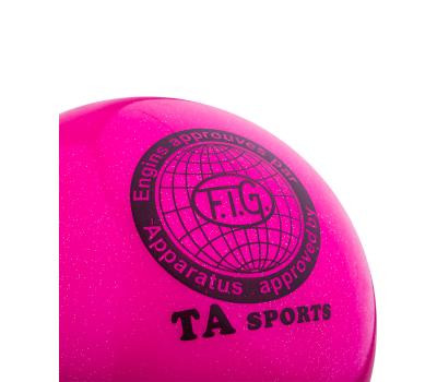 Мяч для художественной гимнастики RGB-102, 19 см, розовый, с блестками, фото 2