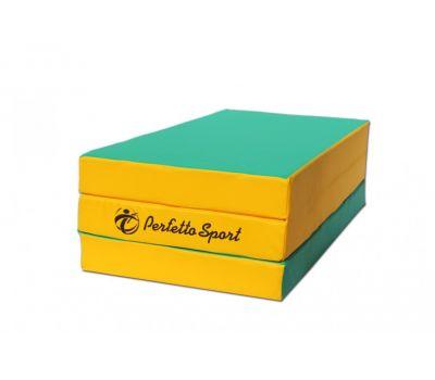 "Мат № 4 (100 х 150 х 10) складной ""PERFETTO SPORT"" зелёно/жёлтый, фото 1"