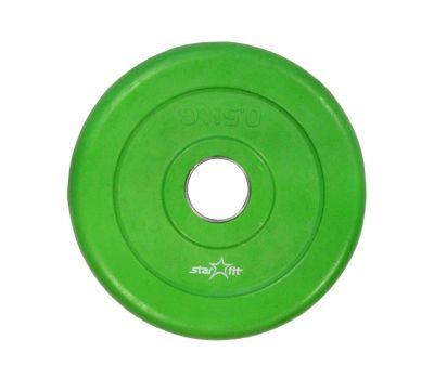 Диск обрезиненный STARFIT BB-201  0,5 кг, d=26 мм, стальная втулка, зеленый 1/40, фото 1