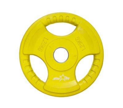 Диск обрезиненный STARFIT BB-201  1,25 кг, d=26 мм, стальная втулка, желтый 1/16, фото 1