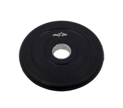 Диск обрезиненный STARFIT BB-202  0,5 кг, d=26 мм, стальная втулка, черный 1/40, фото 1