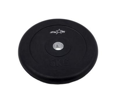 Диск обрезиненный STARFIT BB-202  5 кг, d=26 мм, стальная втулка, черный 1/4, фото 1