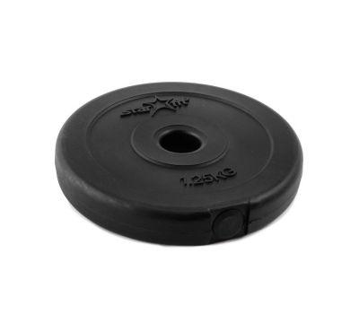 Диск пластиковый STARFIT BB-203  1,25 кг, d=26 мм, черный 1/16, фото 1