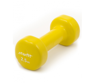 Гантель виниловая STARFIT DB-101 2,5 кг, желтая (1 шт.) 1/8, фото 1