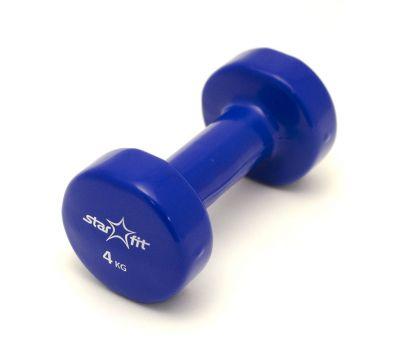 Гантель виниловая STARFIT DB-101 4 кг, темно-синяя (1 шт.) 1/4, фото 1
