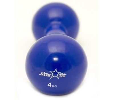 Гантель виниловая STARFIT DB-102 4 кг, темно-синяя (1 шт.) 1/4, фото 1