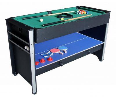 Многофункциональный игровой стол 3 в 1 Global (120 х 61 х 78 см; 3 игры: бильярд, аэрохоккей, настольный теннис), фото 1