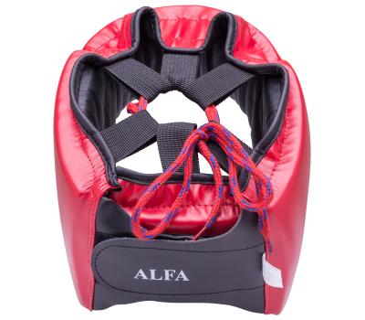 Шлем открытый Alfa HGA-4014, кожзам, красный, S, фото 2