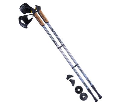 Палки для скандинавской ходьбы Starfall, 77-135 см, 2-секционные, серый/чёрный/белый, фото 1