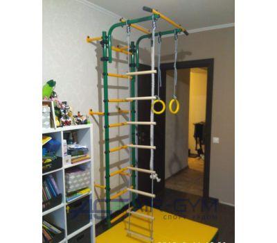 Детский спортивный комплекс ЮНЫЙ АТЛЕТ модель Пристенный зелёно/жёлтый, фото 2