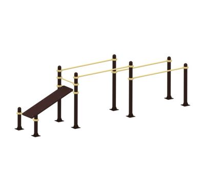 Спортивные уличные брусья+скамья для пресса Air-Gym YSK52, фото 2