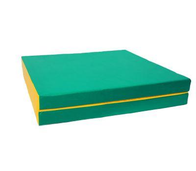 Мат № 10 (100 х 150 х 10) складной 1 сложение зелёно/жёлтый