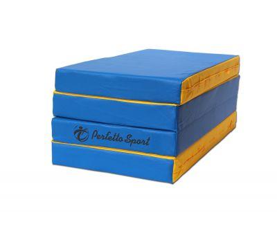 Мат № 5 (100 х 200 х 10) складной 3 сложения PERFETTO SPORT сине/жёлтый