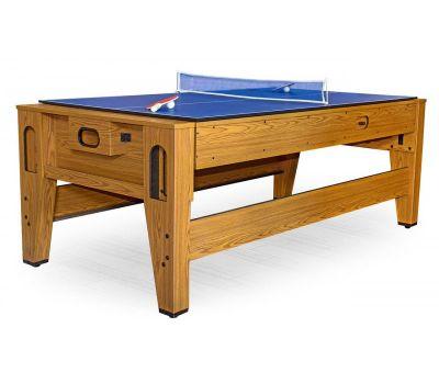 Cтол-трансформер Twister 3 в 1 (3 игры: бильярд, аэрохоккей, настольный теннис; 217 х 107,5 х 81 см; дуб), фото 11