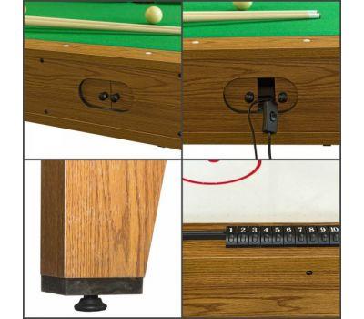 Cтол-трансформер Twister 3 в 1 (3 игры: бильярд, аэрохоккей, настольный теннис; 217 х 107,5 х 81 см; дуб), фото 15