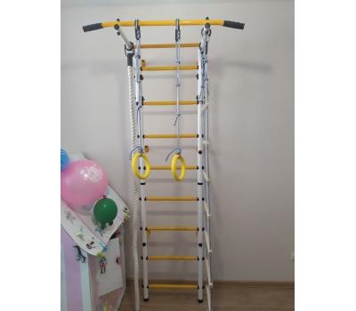 Детский спортивный комплекс ЮНЫЙ АТЛЕТ модель Пристенный бело/жёлтый, фото 5