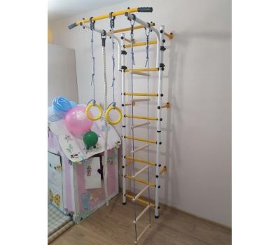 Детский спортивный комплекс ЮНЫЙ АТЛЕТ модель Пристенный бело/жёлтый, фото 4