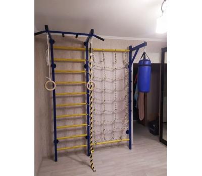 Домашний спортивный комплекс Семейный S1, с сетью для лазания, турником и кронштейном под грушу., фото 8