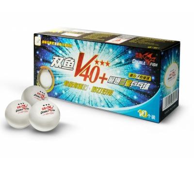 Мячики для н/тенниса DOUBLE FISH 40+ 3*, 10 мячей в упаковке, белые (для профессионалов)
