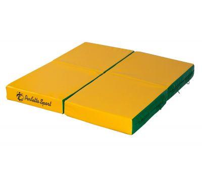 """Мат № 11 (100 х 100 х 10) складной 4 сложения """"PERFETTO SPORT"""" зелёно/жёлтый, фото 3"""