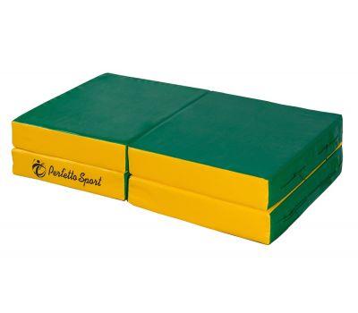 """Мат № 11 (100 х 100 х 10) складной 4 сложения """"PERFETTO SPORT"""" зелёно/жёлтый, фото 2"""