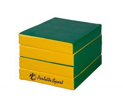 """Мат № 11 (100 х 100 х 10) складной 4 сложения """"PERFETTO SPORT"""" зелёно/жёлтый, фото 1"""
