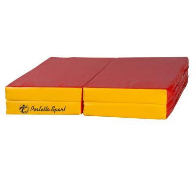 "Мат № 11 (100 х 100 х 10) складной 4 сложения ""PERFETTO SPORT"" красно/жёлтый, фото 1"