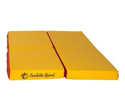 "Мат № 11 (100 х 100 х 10) складной 4 сложения ""PERFETTO SPORT"" красно/жёлтый, фото 2"