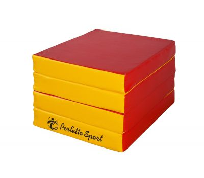"Мат № 11 (100 х 100 х 10) складной 4 сложения ""PERFETTO SPORT"" красно/жёлтый, фото 3"