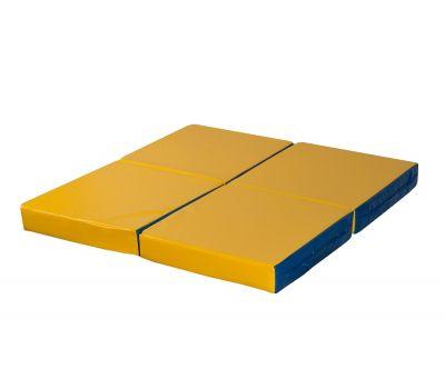 Мат № 11 (100 х 100 х 10) складной 4 сложения сине/жёлтый, фото 2