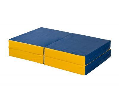 Мат № 11 (100 х 100 х 10) складной 4 сложения сине/жёлтый, фото 1