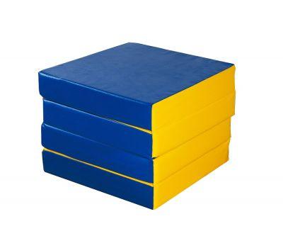 Мат № 11 (100 х 100 х 10) складной 4 сложения сине/жёлтый, фото 3