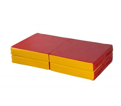 Мат № 11 (100 х 100 х 10) складной 4 сложения красно/жёлтый, фото 1